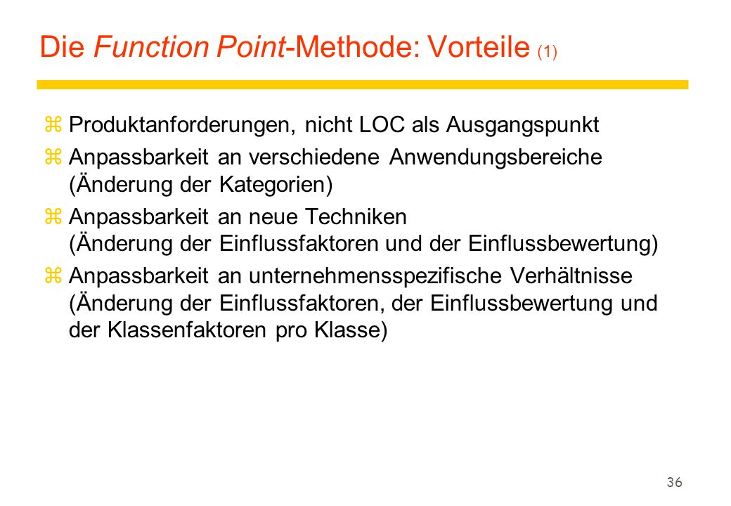 Die Function Point-Methode: Vorteile (1)