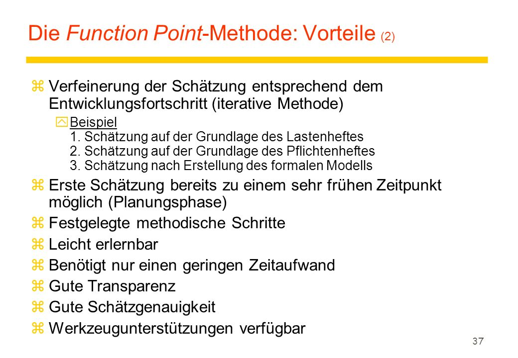 Die Function Point-Methode: Vorteile (2)
