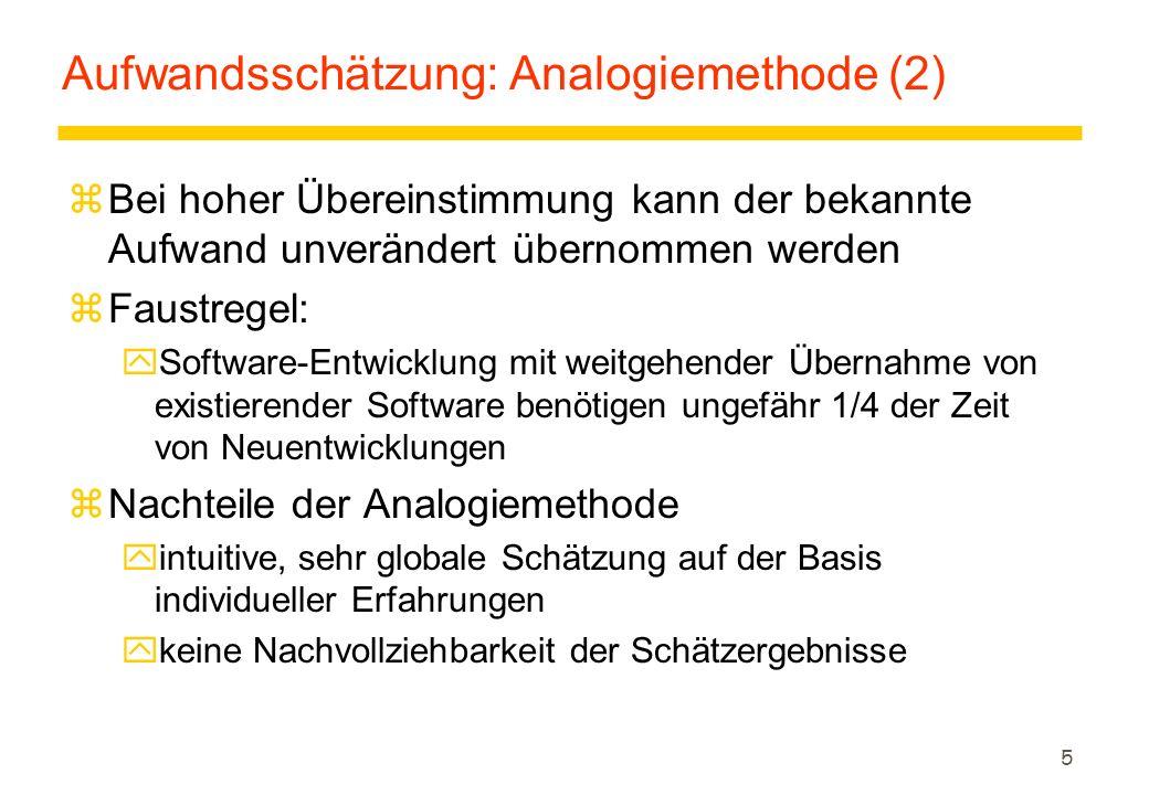 Aufwandsschätzung: Analogiemethode (2)