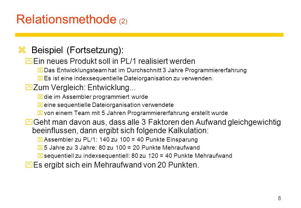 Relationsmethode (2) Beispiel (Fortsetzung):