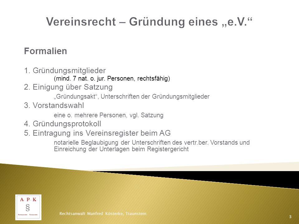 """Vereinsrecht – Gründung eines """"e.V."""