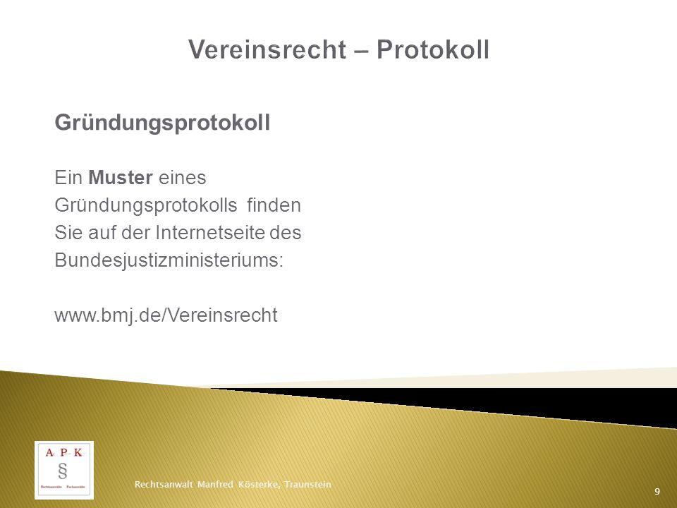 Vereinsrecht – Protokoll
