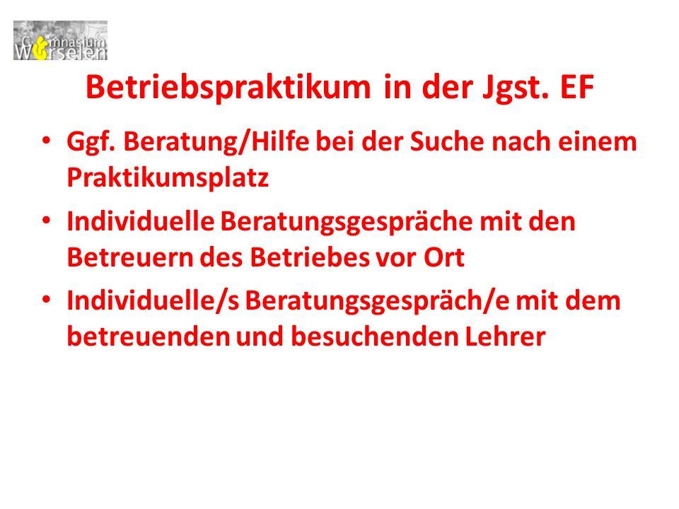 Betriebspraktikum in der Jgst. EF