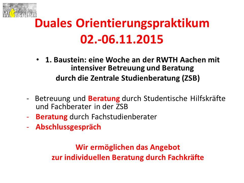 Duales Orientierungspraktikum 02.-06.11.2015