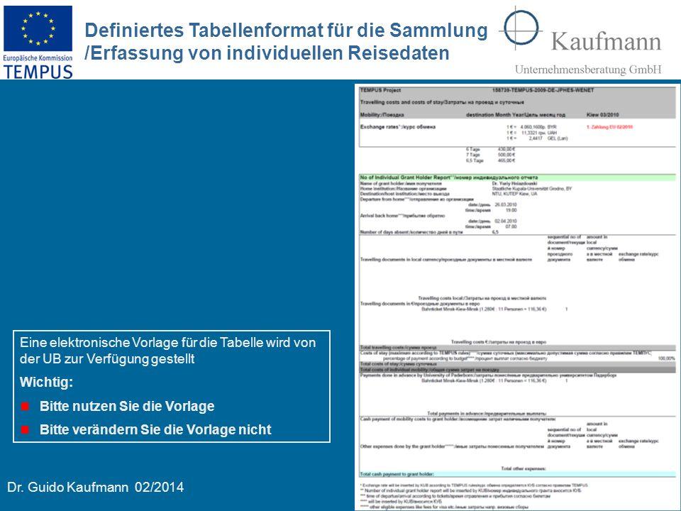 Definiertes Tabellenformat für die Sammlung /Erfassung von individuellen Reisedaten