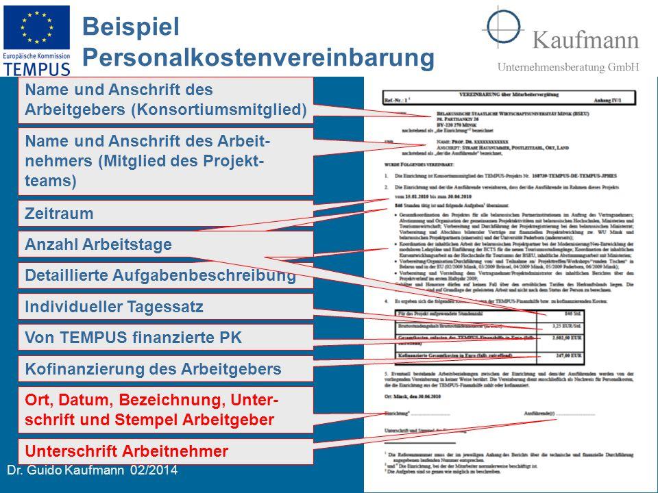 Beispiel Personalkostenvereinbarung