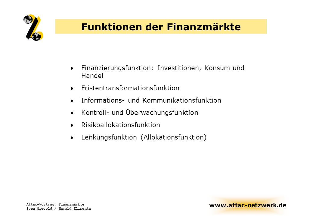 Funktionen der Finanzmärkte