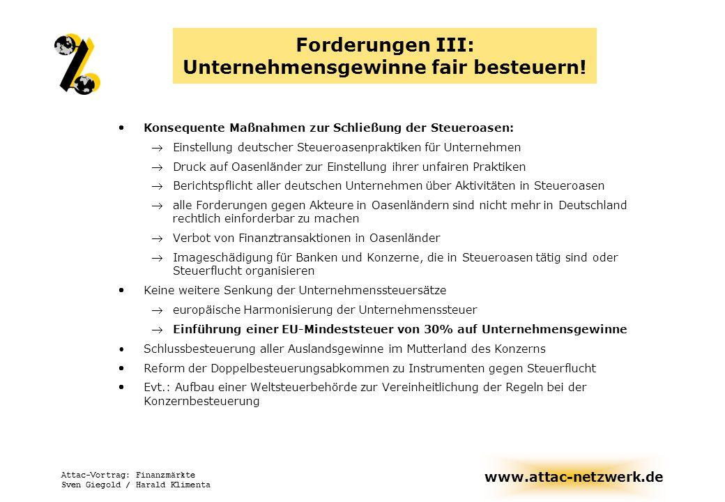 Forderungen III: Unternehmensgewinne fair besteuern!