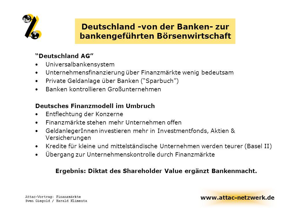 Deutschland -von der Banken- zur bankengeführten Börsenwirtschaft