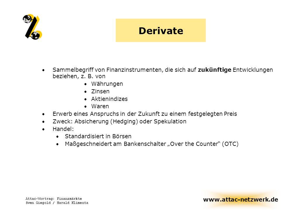 Derivate Sammelbegriff von Finanzinstrumenten, die sich auf zukünftige Entwicklungen beziehen, z. B. von.