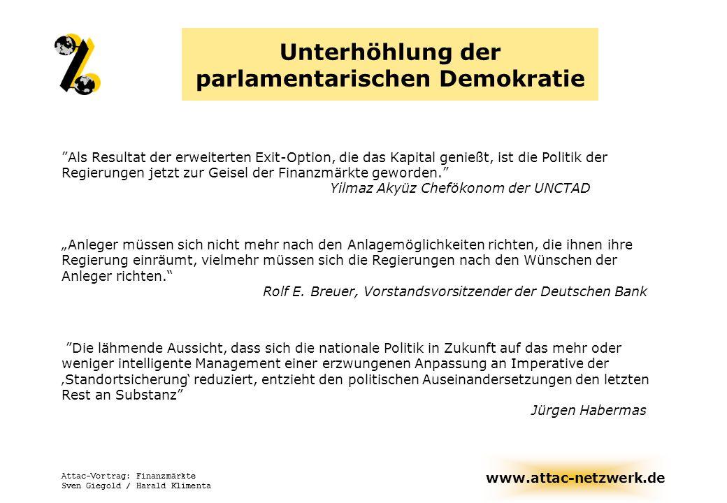 Unterhöhlung der parlamentarischen Demokratie