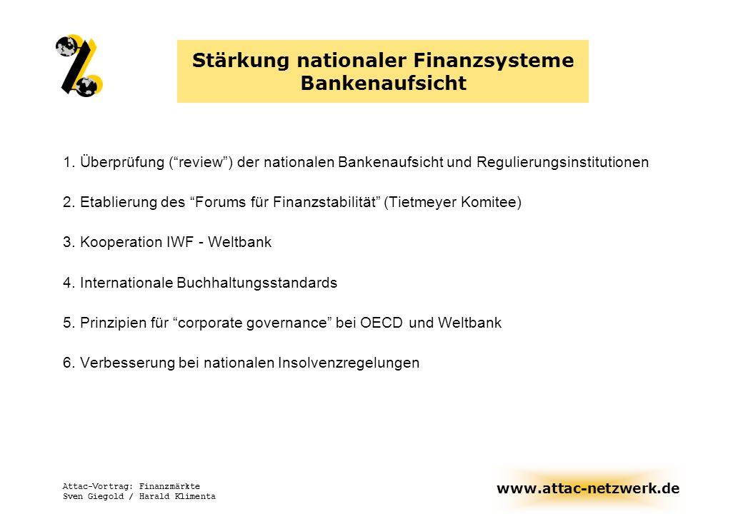 Stärkung nationaler Finanzsysteme Bankenaufsicht