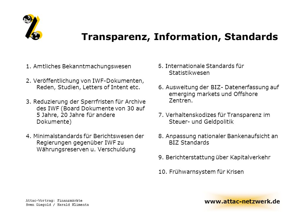 Transparenz, Information, Standards
