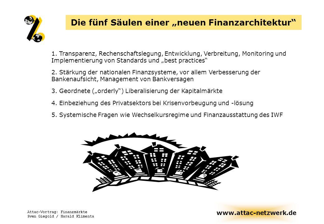"""Die fünf Säulen einer """"neuen Finanzarchitektur"""