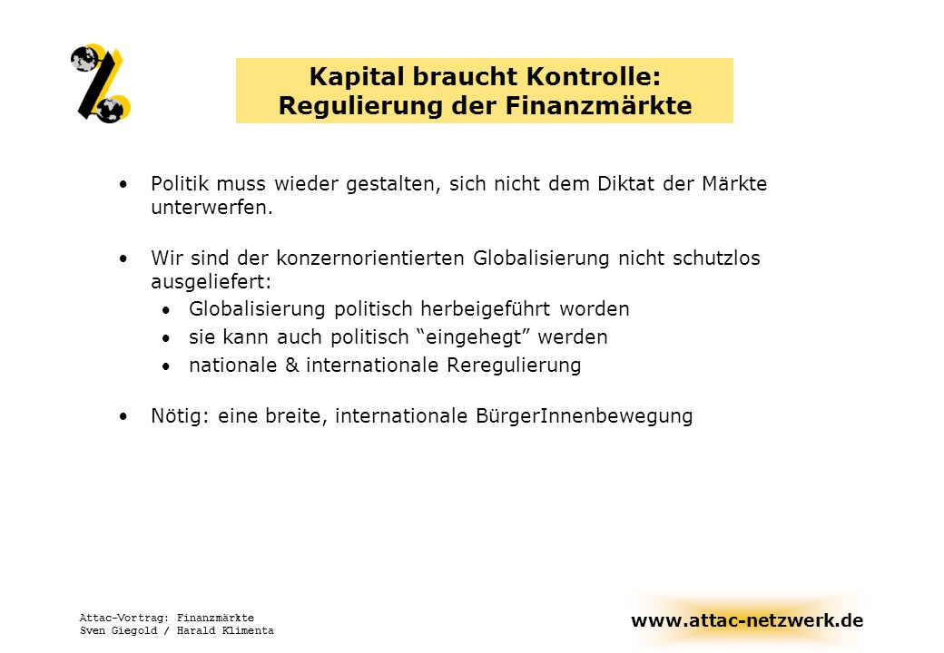 Kapital braucht Kontrolle: Regulierung der Finanzmärkte