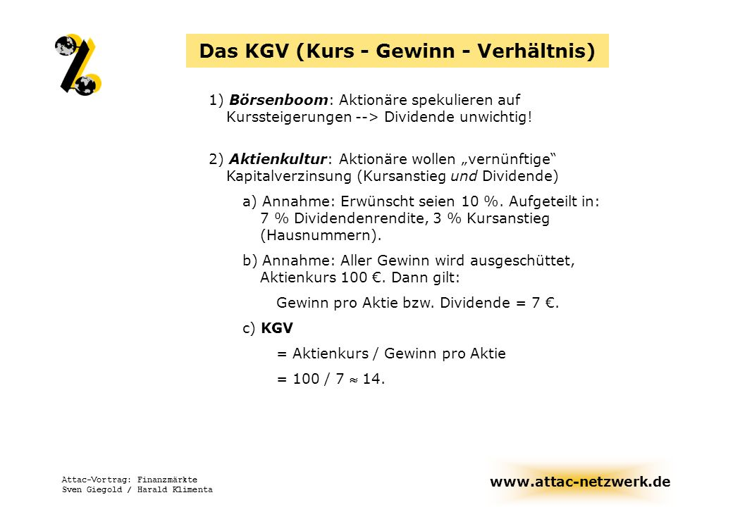Das KGV (Kurs - Gewinn - Verhältnis)