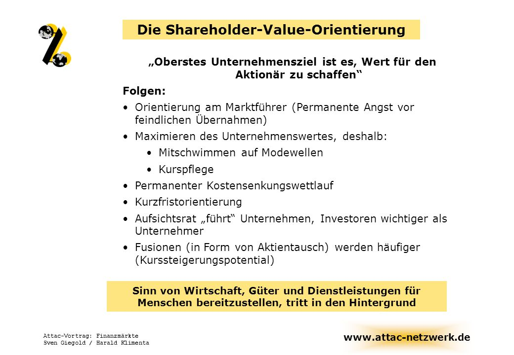 Die Shareholder-Value-Orientierung