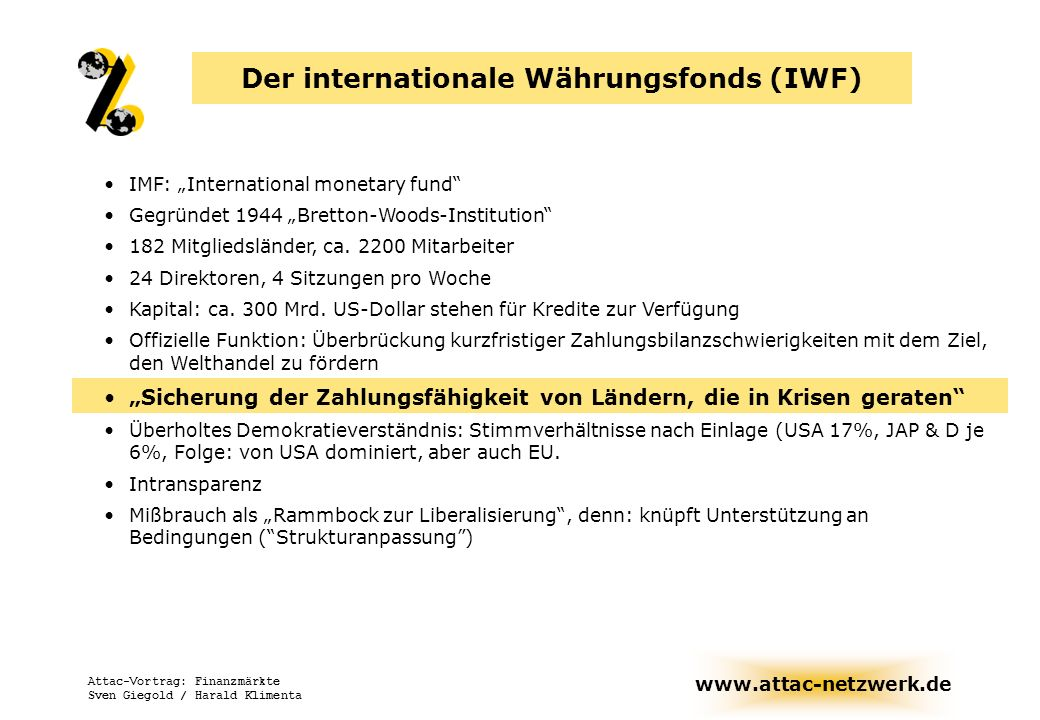 Der internationale Währungsfonds (IWF)