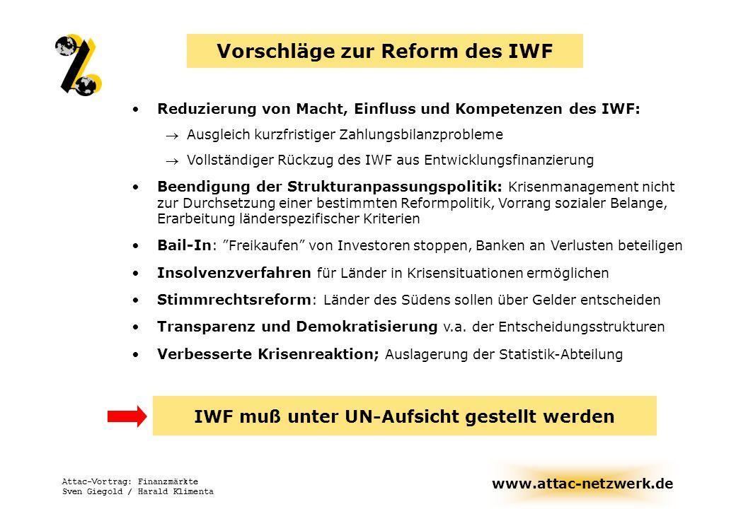 Vorschläge zur Reform des IWF