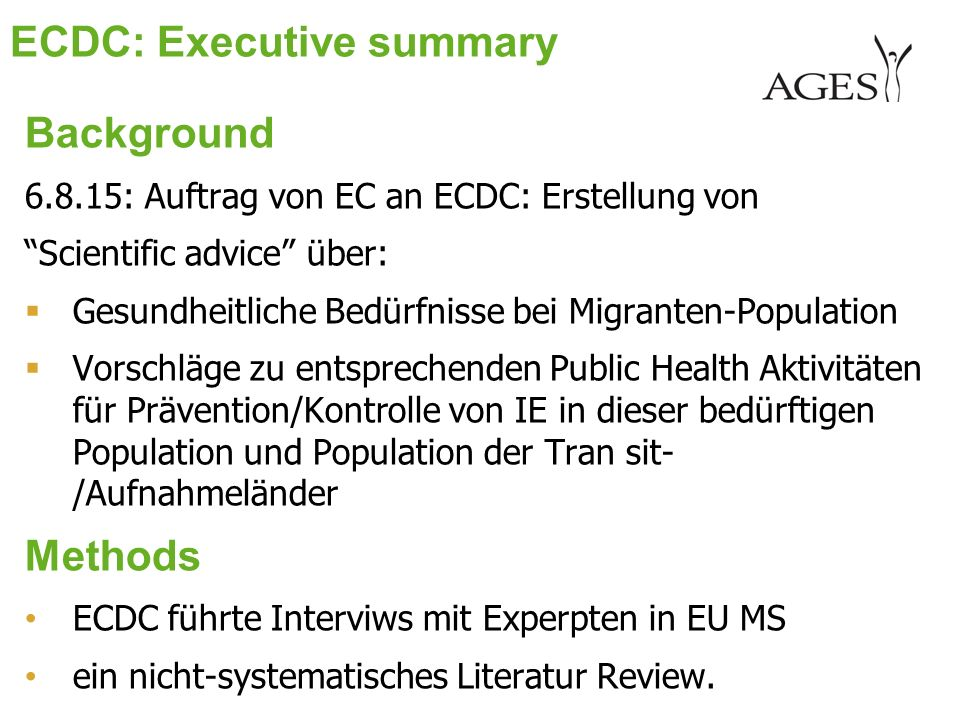 ECDC: Executive summary