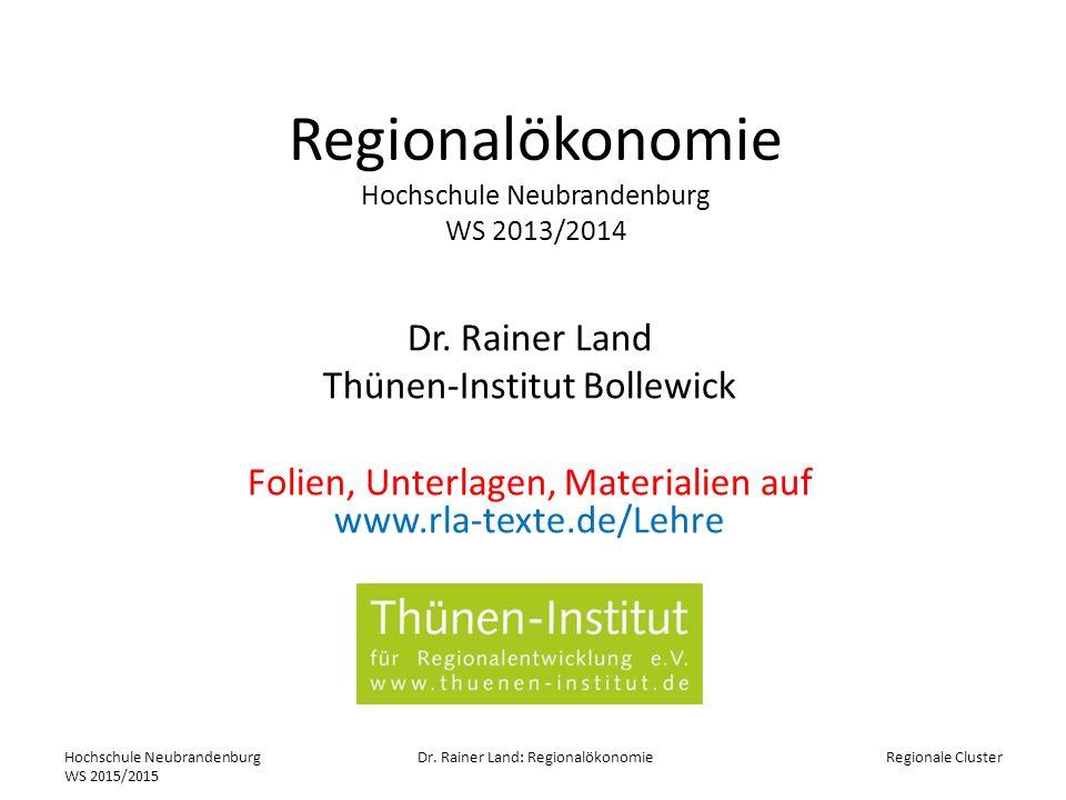 Regionalökonomie Hochschule Neubrandenburg WS 2013/2014