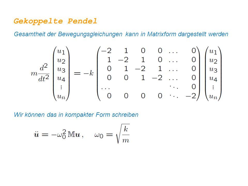 Gekoppelte Pendel Gesamtheit der Bewegungsgleichungen kann in Matrixform dargestellt werden.