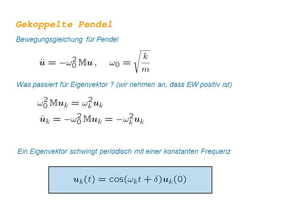 Gekoppelte Pendel Bewegungsgleichung für Pendel