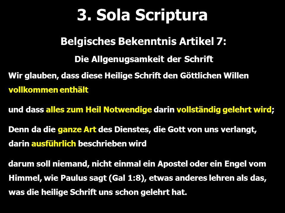 Belgisches Bekenntnis Artikel 7: Die Allgenugsamkeit der Schrift