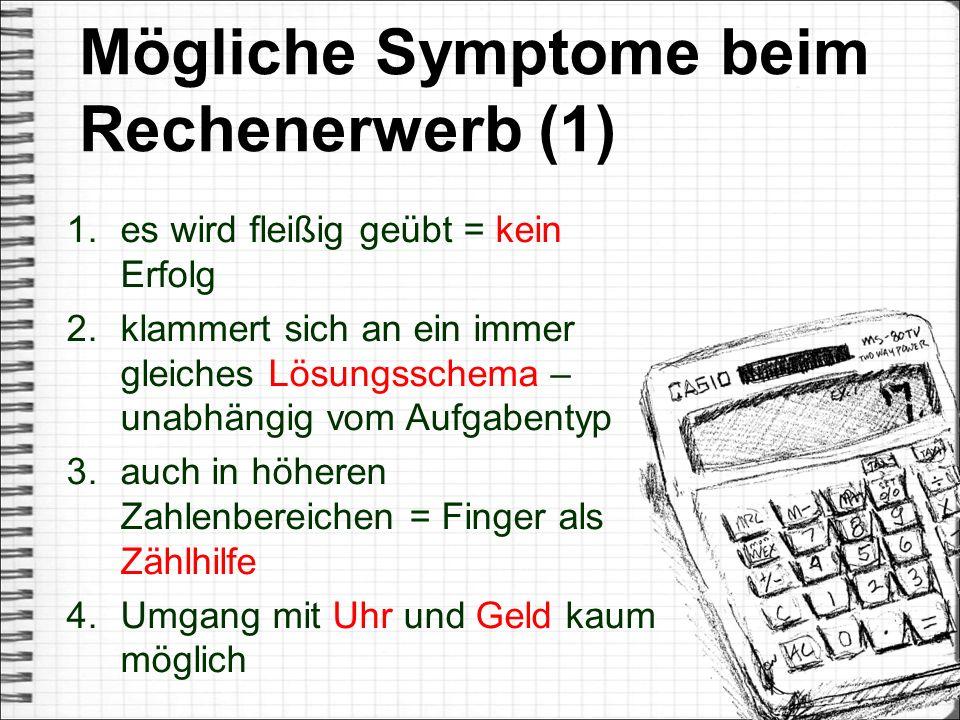 Mögliche Symptome beim Rechenerwerb (1)