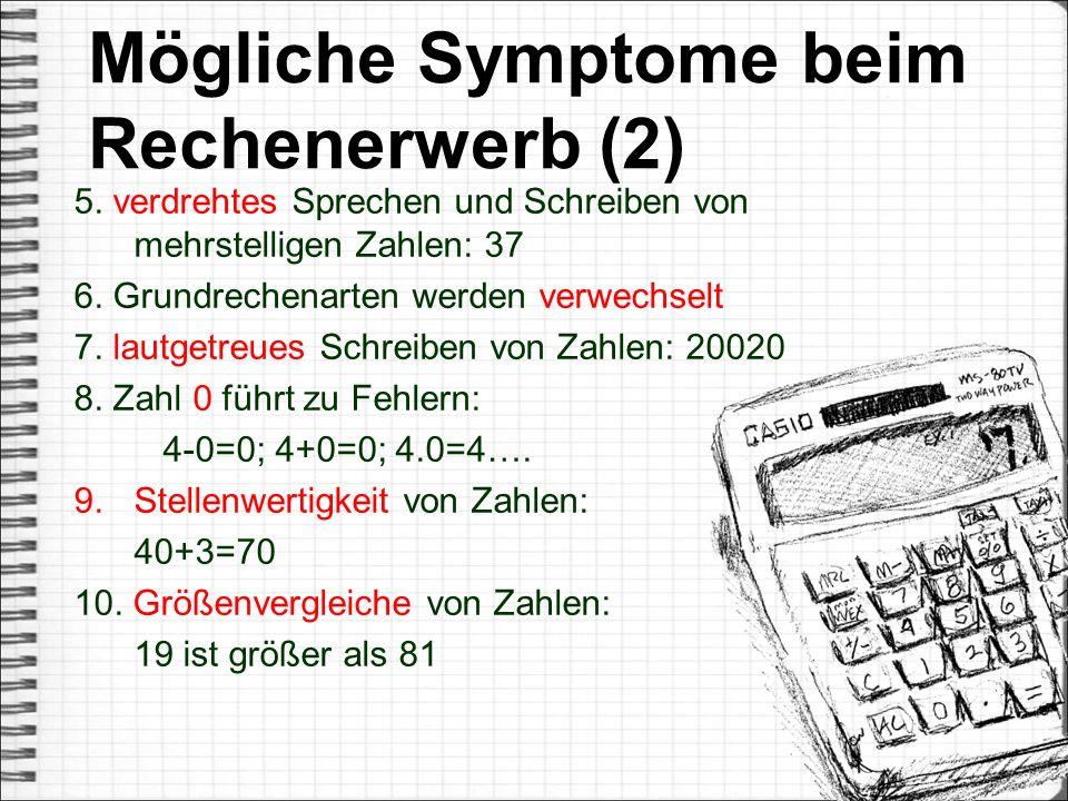 Mögliche Symptome beim Rechenerwerb (2)