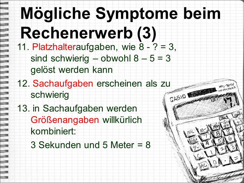 Mögliche Symptome beim Rechenerwerb (3)