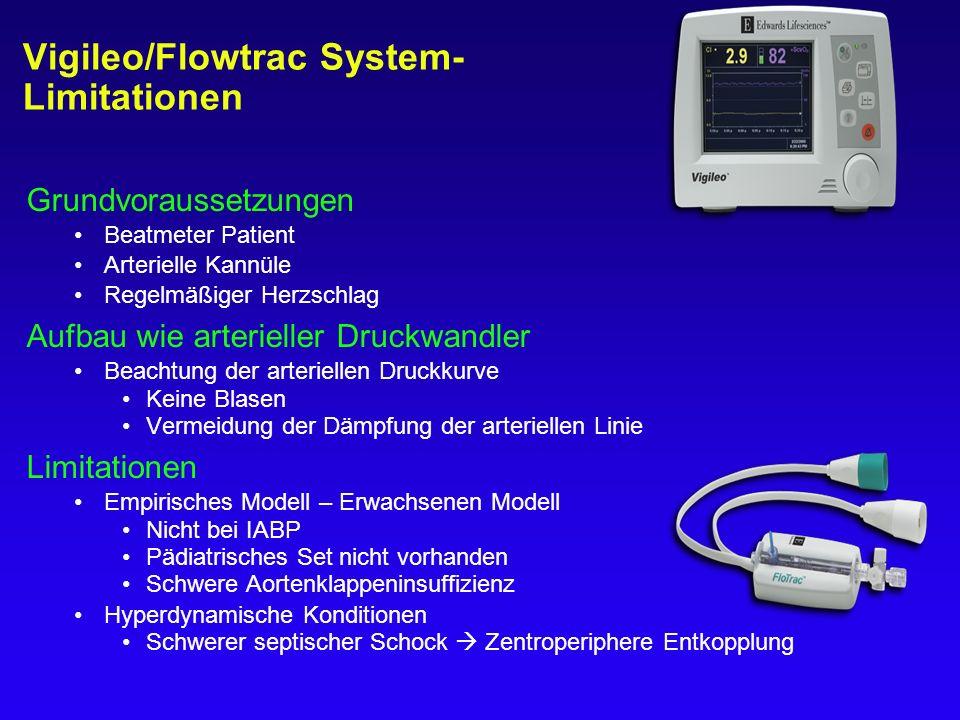 Vigileo/Flowtrac System- Limitationen