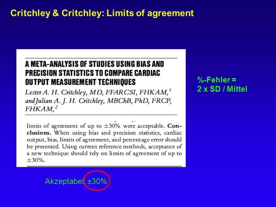 Critchley & Critchley: Limits of agreement