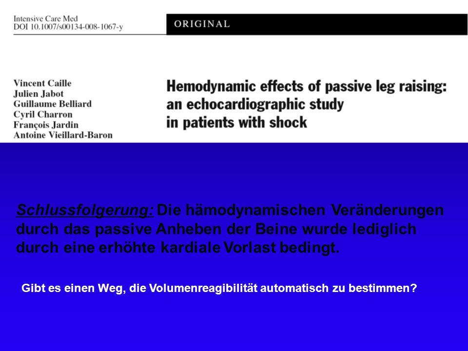 Schlussfolgerung: Die hämodynamischen Veränderungen durch das passive Anheben der Beine wurde lediglich durch eine erhöhte kardiale Vorlast bedingt.
