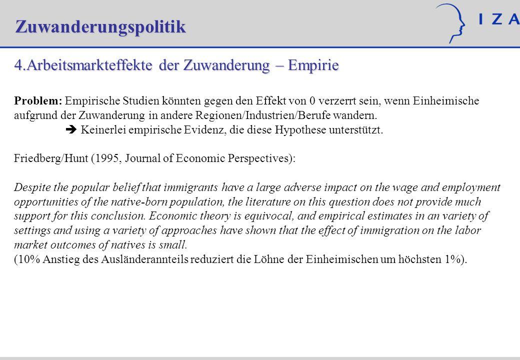 Zuwanderungspolitik Arbeitsmarkteffekte der Zuwanderung – Empirie