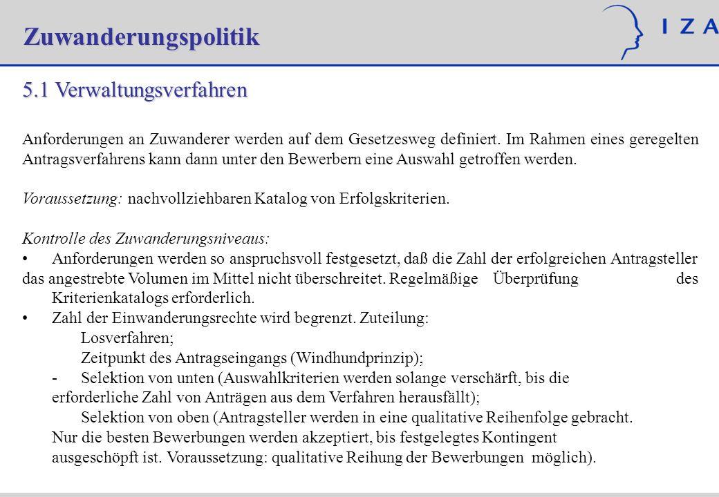 Zuwanderungspolitik 5.1 Verwaltungsverfahren