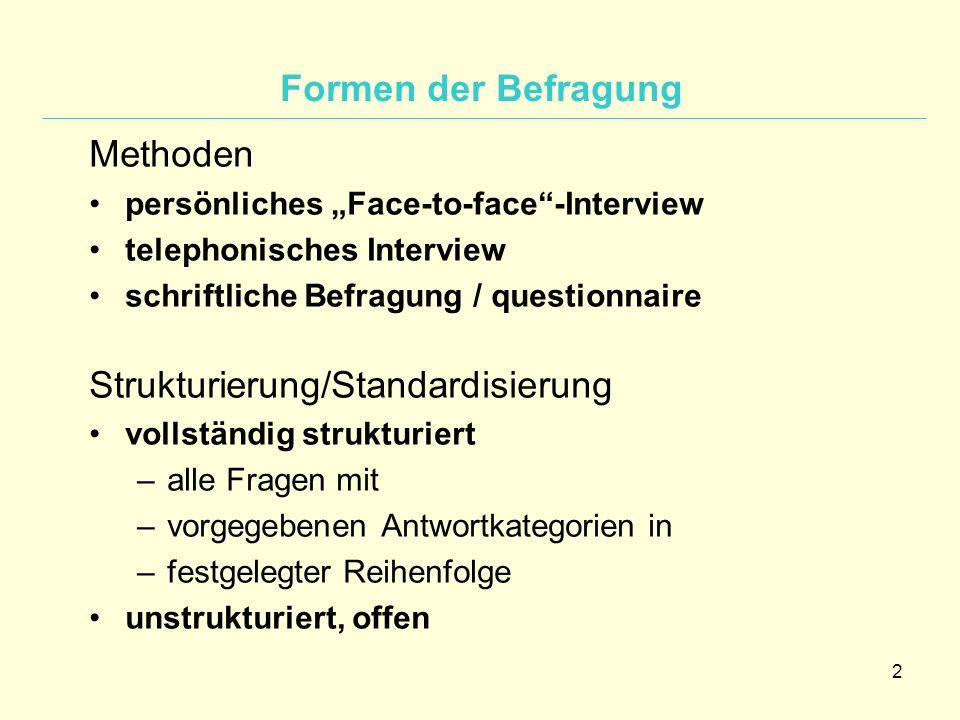 Strukturierung/Standardisierung