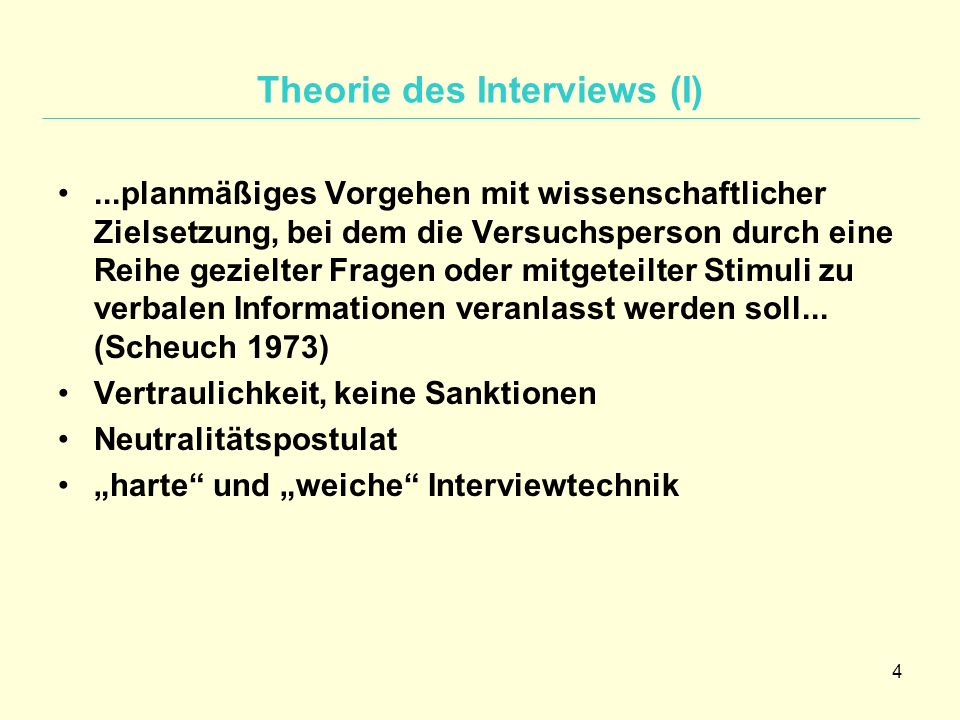 Theorie des Interviews (I)