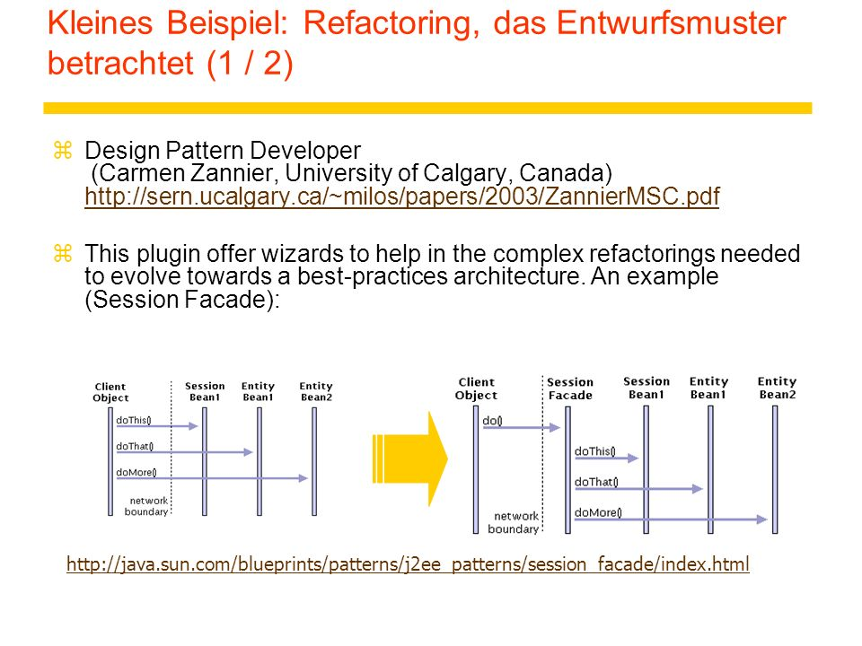 Kleines Beispiel: Refactoring, das Entwurfsmuster betrachtet (1 / 2)
