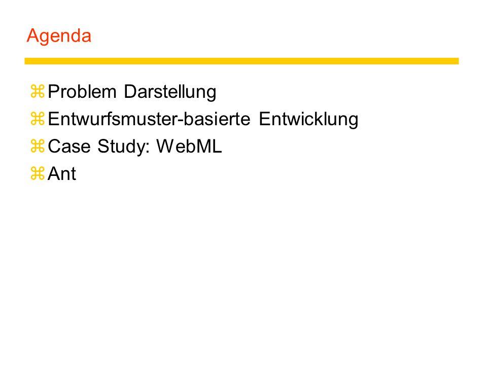 Agenda Problem Darstellung Entwurfsmuster-basierte Entwicklung Case Study: WebML Ant