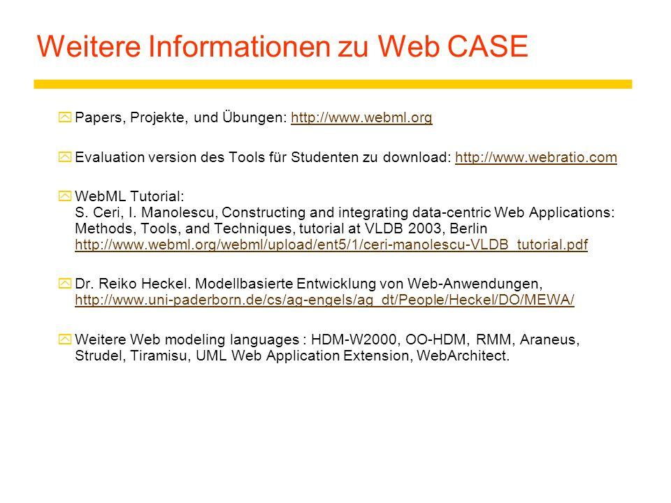 Weitere Informationen zu Web CASE