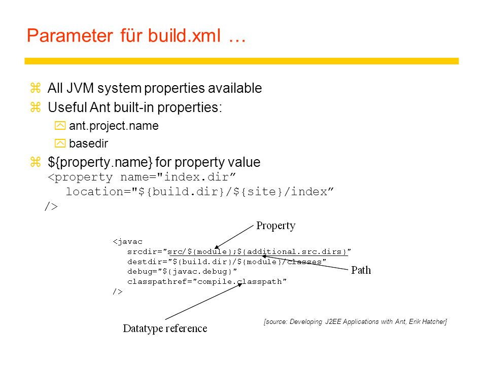 Parameter für build.xml …
