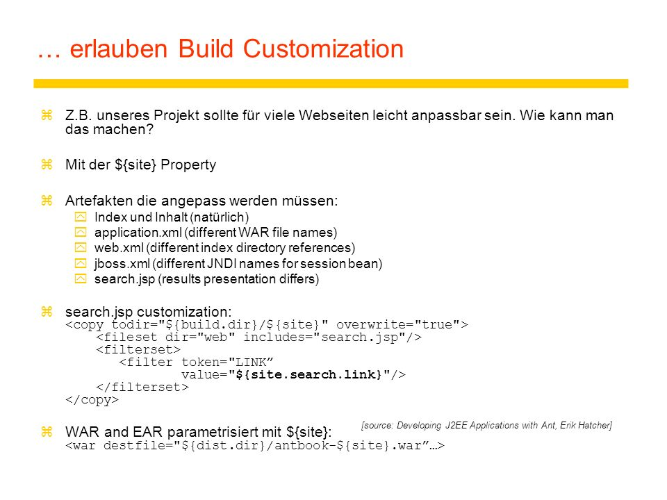 … erlauben Build Customization