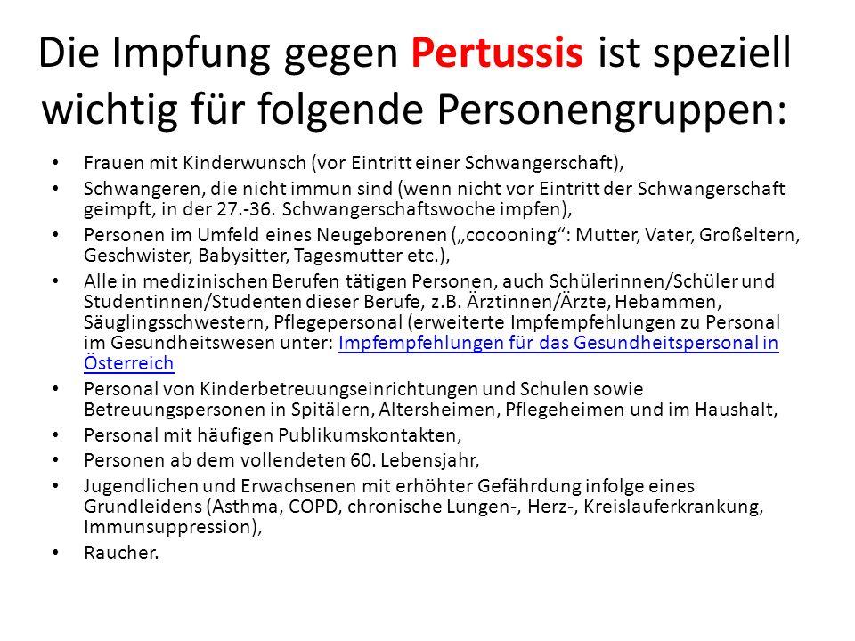 Die Impfung gegen Pertussis ist speziell wichtig für folgende Personengruppen:
