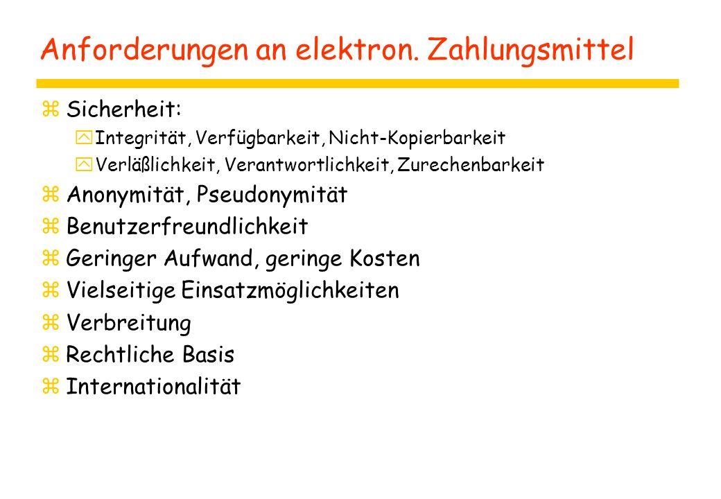 Anforderungen an elektron. Zahlungsmittel
