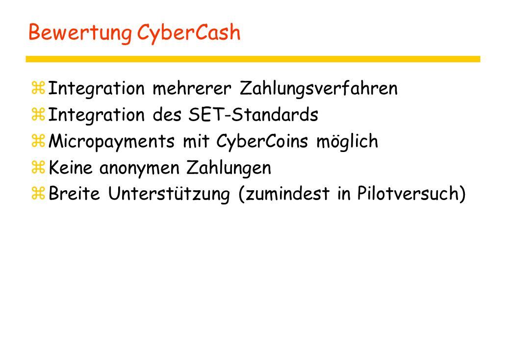 Bewertung CyberCash Integration mehrerer Zahlungsverfahren