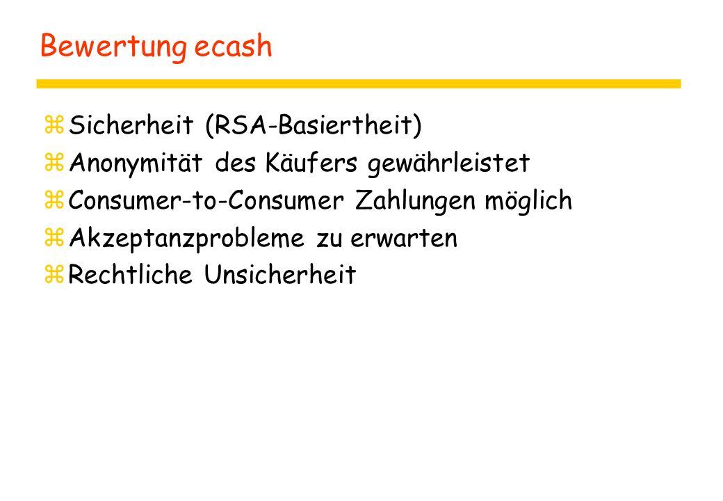 Bewertung ecash Sicherheit (RSA-Basiertheit)