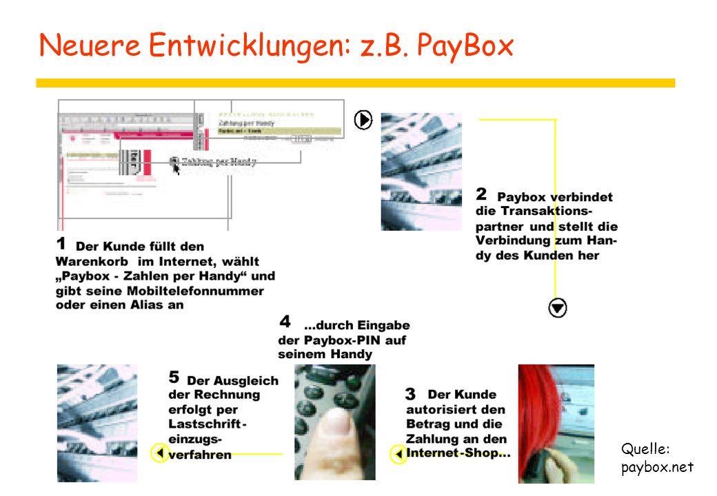 Neuere Entwicklungen: z.B. PayBox