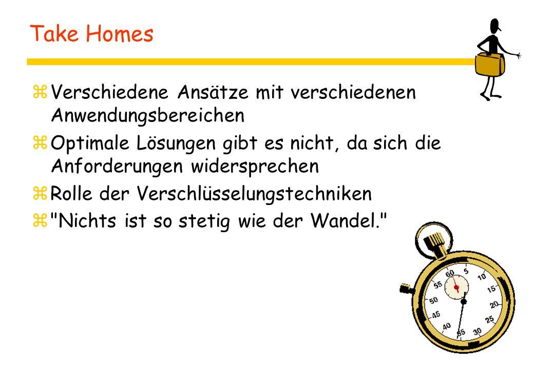 Take Homes Verschiedene Ansätze mit verschiedenen Anwendungsbereichen