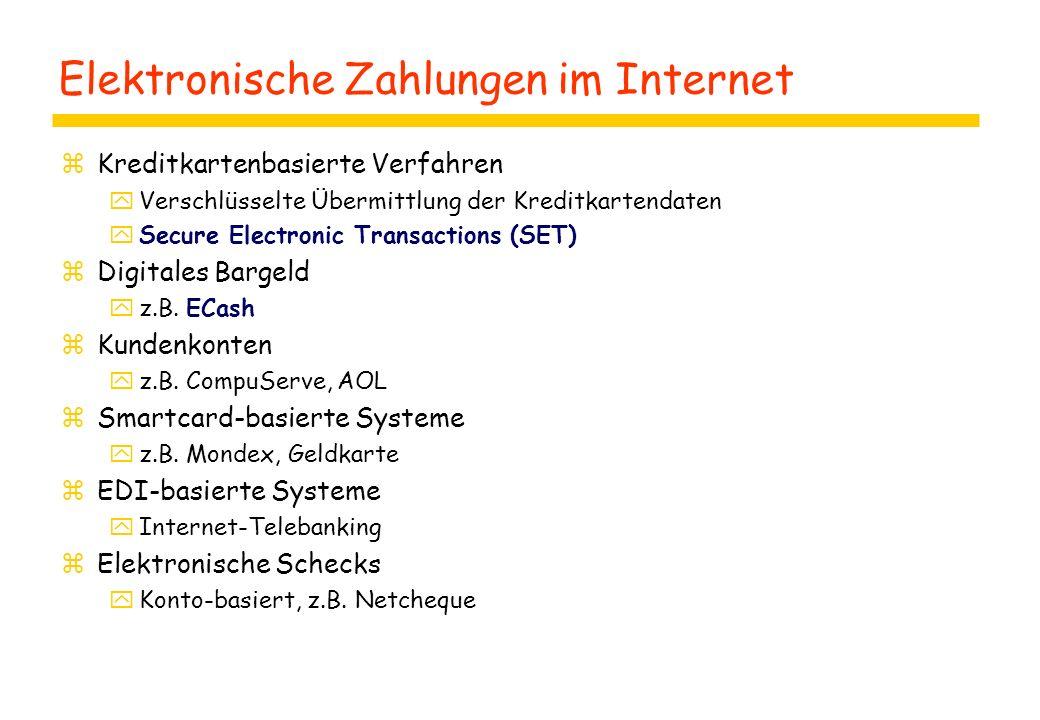 Elektronische Zahlungen im Internet